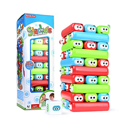 Tumbling Tower Stacking Blocks,Colored Cartoon Plastic Building Blocks Board Toppling Tumbling Tower by HOMSEEK