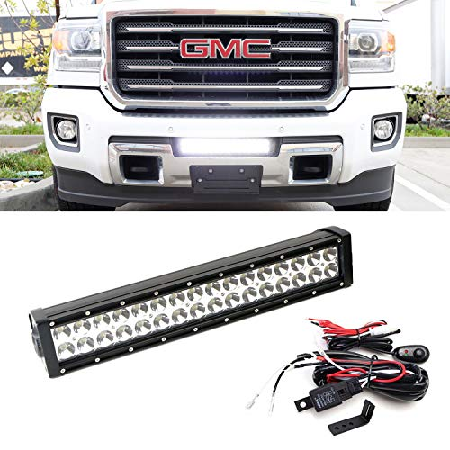 iJDMTOY Lower Grille Mount LED Light Bar Kit For 2015-up GMC Sierra 2500 3500 HD, Includes (1) 96W High Power LED Lightbar, Lower Bumper Opening Mounting Brackets & On/Off Switch Wiring Kit