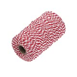 Shintop 200m Cotton Bakers Twine, Red and White Twine Perfect for Baking, Butchers, Crafts, Christmas Gift Wrapping