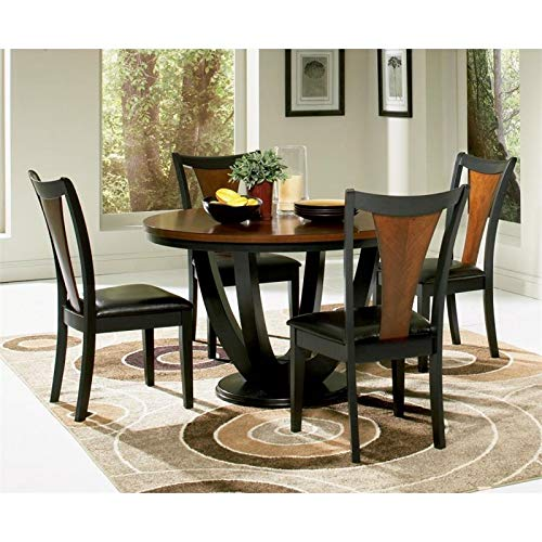 Coaster Home Furnishings Boyer 5-Piece Round Table Dining Set Black and Amber