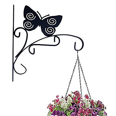 Hanging Plant Bracket Hook Iron Decorative Plant Hanger for Flower Basket Bird Feeder Wind Chime Lanterns with Screws (Butterfly) : Garden & Outdoor