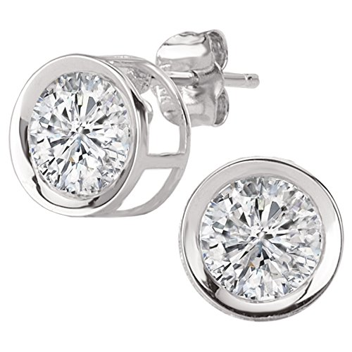 14k White Gold Bezel Set Solitaire Stud CZ Earrings (2.0ctw)