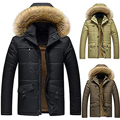 Christmas Deals! Teresamoon Men's Winter Medium Length Zipper Plus Size Thickened Hooded Cotton Outwear Coat