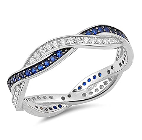 Blue Simulated Sapphire Eternity Loop Wedding Ring .925 Sterling Silver Band Size 10 - Blue Sapphire Eternity Ring