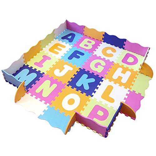 Baby Play Mat with Fence, Foam Letters, and Tiles. Playmat for Kids, Toddlers, Infants. Tummy Time, Ball Pit, Activity Center Gym Floor playpen. 56