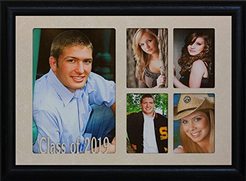 7x10 CLASS OF 2019 5-Opening Collage Portrait Picture Frame ~ Laser Cut Cream Marble Matboard with Hardwood Frame ~ Wonderful Graduation Gift Idea! ()