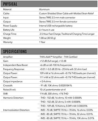 HELM DB12 AAAMP Mobile Headphone Amplifier, THX AAA Technology, Analog Amplifier, 12 dB Signal Boost,+6 dB Bass Boost, THX Certified, Male 3.5mm to Female 3.5mm Audio Jack, Studio Sound on The go 51eBaTmN38L