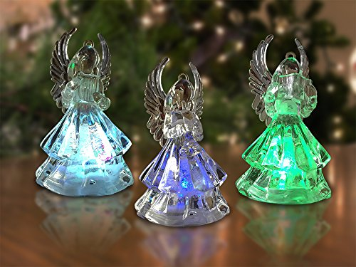 Angel Christmas Figure (Lighted Christmas Angel Figures - 3 LED Color Changing Angels - Use on a Table Top or Add a String and Hang Them From you Christmas Tree - Christmas Angels)