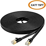 $24 Get Cat 7 Ethernet Cable 75 FT, High Speed Flat LAN Cable, Solid Fast Network Cord with RJ45 connecotrs for Router, Modem (Black)