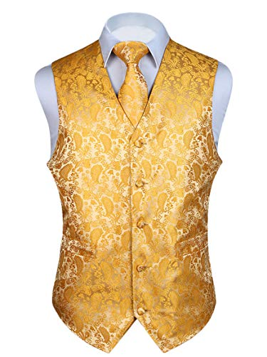 (HISDERN 3pc Men's Paisley Floral Jacquard Waistcoat & Necktie and Pocket Square Vest Suit Set Yellow)