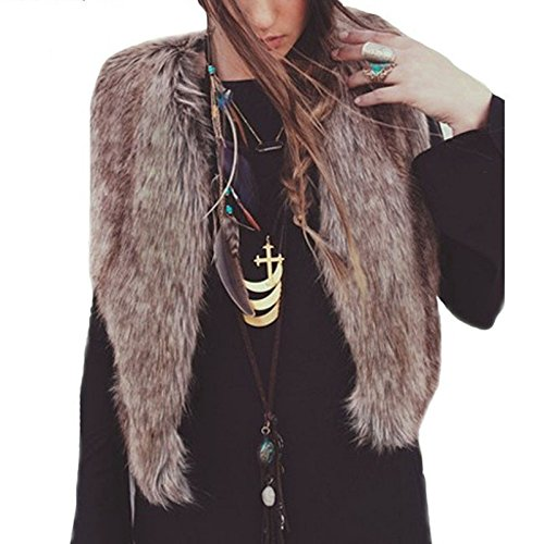 Amazon.com: Besde Womens Faux Fur Vest Sleeveless Long Hair ...