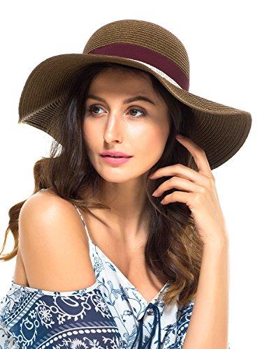 Sun 180 Caps (LITHER Women Floppy Sun Beach Straw Hats Wide Brim Packable Summer Cap with Bowknot)