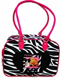 Zebra Stripe Nylon Pet Carrier Dog Cat 10 Lbs Pink Trim