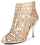LizForm Women Cutout Sandal Boots Open Toe Stiletto Sandals Back Zipper Dress Shoes High Heels Boots Gold3 9