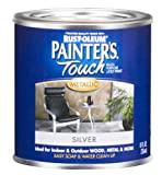 Rust-Oleum 240288 Painters Touch 1/2 Pint Latex, Satin Silver Metallic