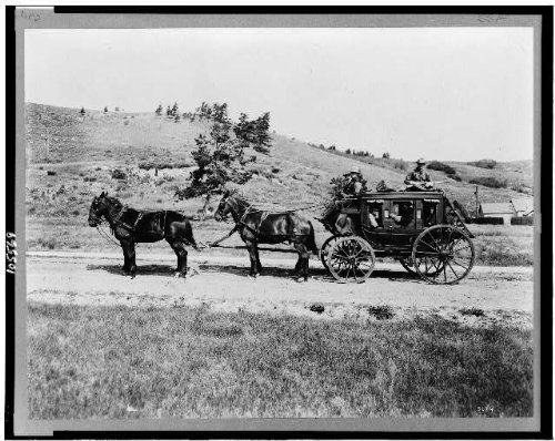 Infinite Photographs Photo: Old Stagecoach,Transportation,Horses,Yellowstone National Park,Wyoming,WY,c1913