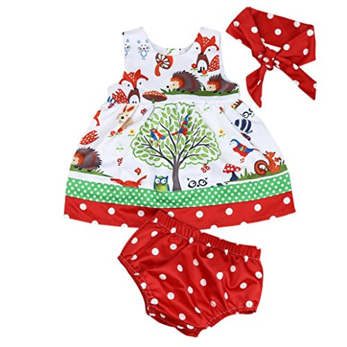 TAORE Baby Infant Girls Woodlands Dot Princess Dress Shorts Pants Headband Clothes Set (18M, Multicolor C) (Dot Layette)