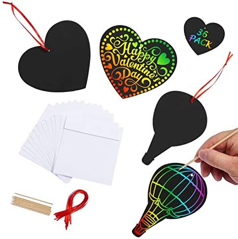 Magic Scratch off Art Craft Supplies Kit for Kids Girls Boys,Black Scratch Heart /& Flower Doodle Pad for Valentines Day Party Favors//Gifts FUNNISM 36 Pack Valentines Day Scratch Rainbow Art Paper Set