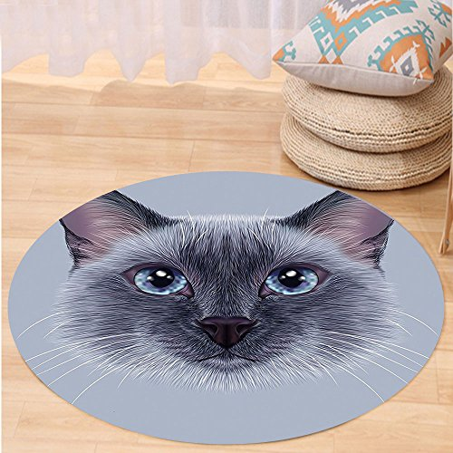 VROSELV Custom carpetAnimal Portrait Image of Thai Siamese Cat with Retro Style Lettering Artwork for Bedroom Living Room Dorm White Sky Blue and Grey Round 72 inches by VROSELV