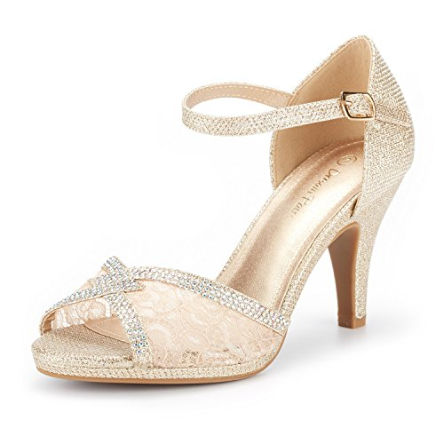 (DREAM PAIRS Women's Amore_5 Gold Glitter Fashion Stilettos Open Toe Pump Heel Sandals Size 6 B(M) US )
