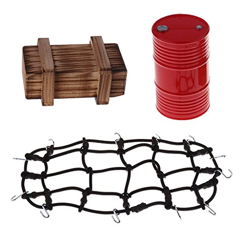 1/10 RC Crawler Car Wood Crate with Fixed Luggage Net & Mini Oil Tank & Crate for for 1:10 RC Axial SCX10 90046 Traxxas