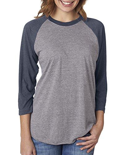 Next Level Unisex 3/4-Sleeve Raglan T-Shirt, Vintage NVY/Premium HTHR, Large