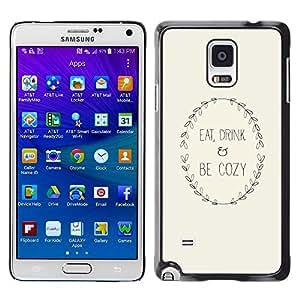 [Neutron-Star] Snap-on Series Teléfono Carcasa Funda Case Caso para Samsung Galaxy Note 4 [Texto inspirada minimalista Beige de la guirnalda]