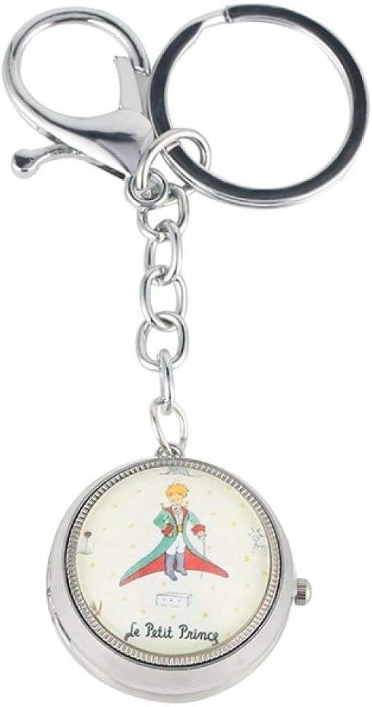 HELBOD Reloj de Bolsillo Reloj Llavero Little Prince Theme Reloj Colgante de CuarzoLittle Cute Key Chain Charms Lover Heart Regalos para Hombres Mujeres Niñas