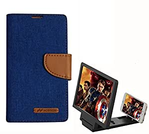 Aart Fancy Wallet Dairy Jeans Flip Case Cover for Apple4G (Blue) + 3D SCREEN MAGNIFIER - HD VIDEO AMPLIFIER - with Stylish foldable holder stand by Aart Store.