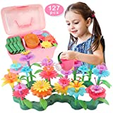 Girls Toys for 3-6 Years Old Gift for Girls Flower Garden Building Toys for Toddlers and Kids Pretend Gardening Toys (127 PCS)