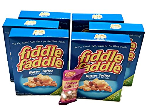 Fiddle Faddle Butter Toffee 6 Pack Bundle - with FREE Sweet & Salty Trail (Popcorn Trail Mix)