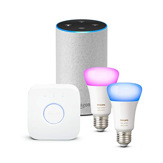 Amazon Echo (2.ª generación), tela de color gris claro + Philips Hue White and Color Ambiance - Kit de 2 bombillas LED E27 y puente: Amazon.es
