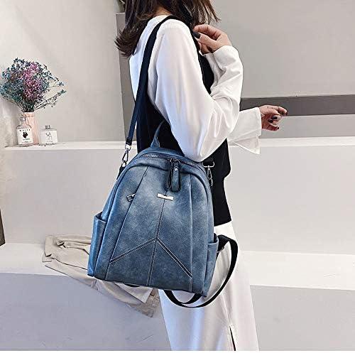 かわいいシンプルなバッグの女性の新しい野生のワンショルダーのファッション学生スクールバッグバックパックの人格傾向 (Color : Blue)