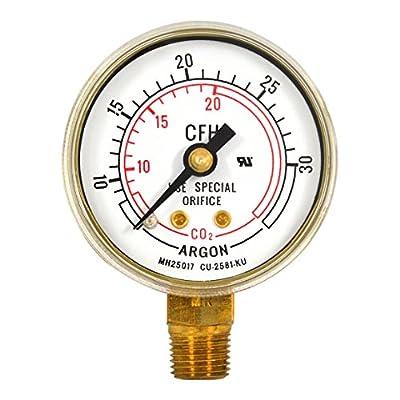"""1-1/2"""" x 30 CFH Welding Regulator Repair Replacement Gauge 1/8 NPT Argon, US-019"""