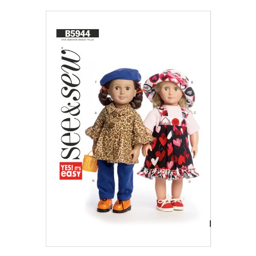 Butterick B5944 Doll Clothes Sewing Template, 18-Inch