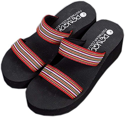 bettyhome Women Lady Girls Sexy Bohemia Thongs Comfortable Casual Wedges Sandals Beach Flip Flops Slippers Red mBlHxCzD