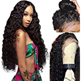 Lovigs Hair Glueless Lace Front Wigs with Baby Hair Long Loose Curly Natural Black Color Synthetic Wigs 180% Density Heat Resistant Fiber Curly Wigs for Black Women(1B 24inch)