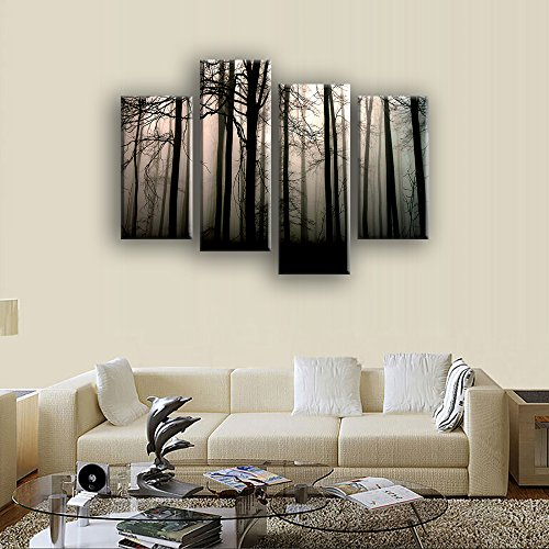 VIIVEI Secret Forest Scenery Wall Art Canvas Painting Posters Prints Pictures Photo Home Decor Artwork for Living Room Bedroom 5 Piece Framed Ready to Hang Large Huge Panel Set Supply Decoration Nail