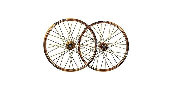 MZPWJD Juego Ruedas Bicicleta 20 Pulgadas Ruedas Freno Disco para Bicicleta Plegable Llanta Aleación Doble Pared 406 QR 32 Hoyos 8-10 Velocidades 1730g (Color : Gold): Amazon.es: Deportes y aire libre