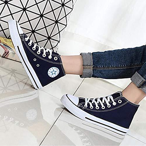 Bleu TTSHOES Drapée Plat Chaussures Talon Toile 5 Rouge Automne Printemps Légères 5 CN40 Femme UK6 EU39 Bout Rond Basket Noir Semelles US8 Blue rq4ZxC7rnw