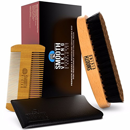 Beard & Mustache Brush and Comb Kit – Boar Bristle Beard Brush & Wooden Grooming Comb – Facial Hair Care Gift Set for Men – Distributes Products & Wax for Styling, Growth & Maintenance – Smooth Viking