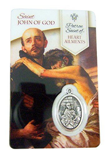 (Silver Toned Saint John of God Patron of Heart Ailments Medal with Holy Card, 1 Inch)