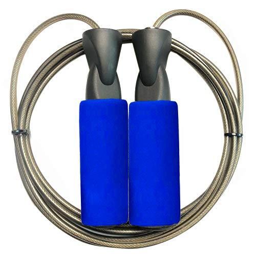 COOROPE Aerobic Exercise Boxing Skipping Jump Rope Adjustable Bearing Speed Fitness Skipping Rope Black Wire,Blue