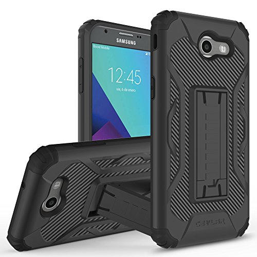 Price comparison product image Cevlar Samsung Galaxy J3 Emerge Samsung Galaxy J3 Prime Samsung Galaxy J3 2017 Carbon Fiber Textured Phone Case with Built In Kickstand and Brushed Metal Phone Cover