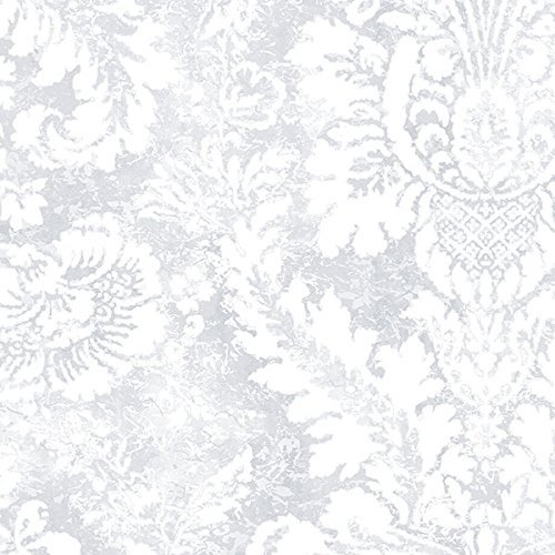 Manhattan comfort NWAB42424 Greenwich Series Vinyl Faded Damask Design Large Wallpaper Roll, 20.5