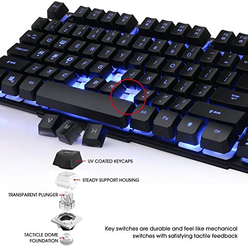 Keyboard, BeeMoon Wired Gaming Keyboard with Three Colors Backlit Supporting Windows 10/ 8 / 7 / Vista / XP, Mac, Linux by Beemoon (Image #5)