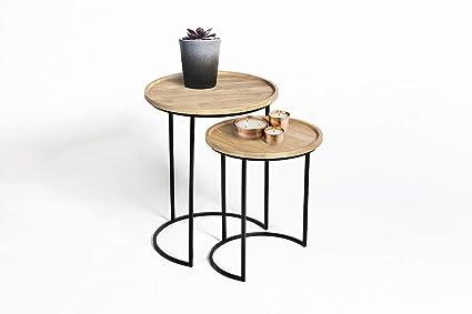 Lifa Living Luna Table Gigogne Bois Table Gignogne Scandinave En Bois Et Cadre En Metal Noir Table Basse Ronde Table Dappoint