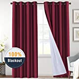 H.VERSAILTEX 100% Blackout Curtains 84 Long Light Blocking Thermal Insulated Grommet Thick Curtain Drapes for Sliding Glass Door, Soundproof Light Blocking Draperies for Bedroom, Burgundy, 2 Panels