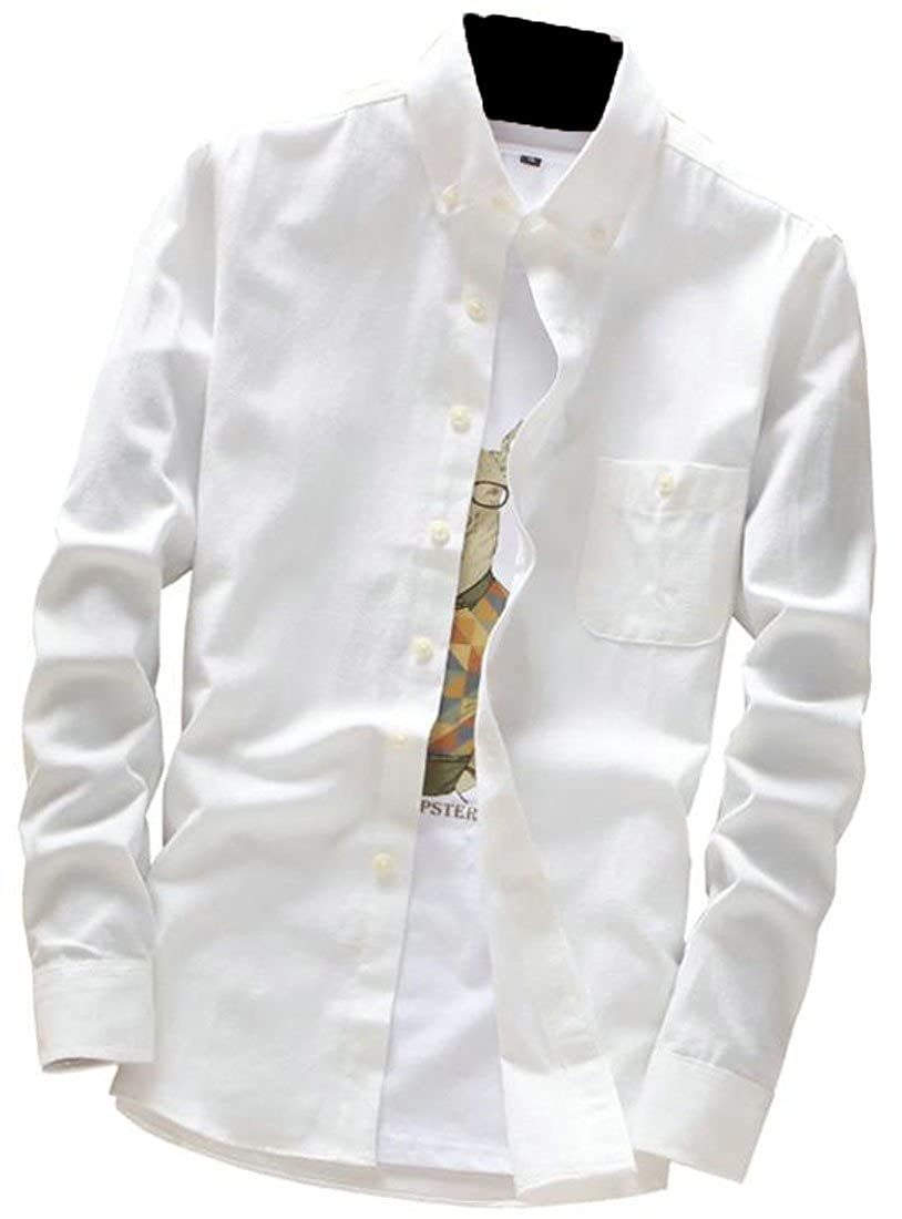 CMCYY Men Junior Casual Long Sleeve No Iron Solid Color Button up Shirts