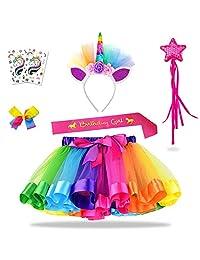 Unicorn Rainbow Tutu Set (7 Pack) with Unicorn Headband for Girls 3-8 Years